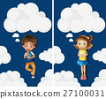 Boy and girl flying in the sky 27100031