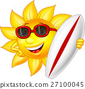 Sun Cartoon Holding a Surfer Board 27100045
