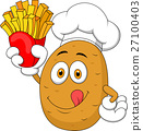 Potato Chef Holding Up A French Fries 27100403