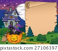 Halloween parchment with cat in pumpkin 27106397