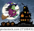 Witch on broom theme image 3 27106431