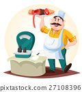 Butcher or meat store worker with sausages 27108396