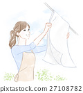 A woman hanging up the laundry 27108782