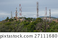 Communication towers on top of mountain 27111680