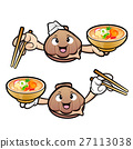 Clam Character holding a chopsticks and soup bowl. 27113038