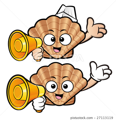 Scallop holding a megaphone and guides gesture 27113119