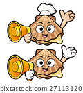Shellfish holding a megaphone and guides gesture. 27113120