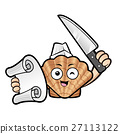 Scallop Mascot holding a knife and an order sheet 27113122