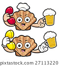 Shellfish Character holding a beer and cellphone. 27113220