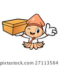 Korean Squid Character holding a Delivery Box. 27113564