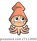 Cute Squid Character shed to drop tears. 27113600
