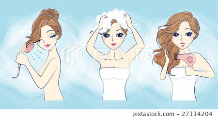 cartoon woman take a bath 27114204