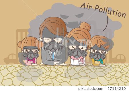 cartoon family with air pollution 27114210