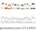 ชุดของเส้นขอบของแมวกับการ์ดขนาดเล็ก 27114954