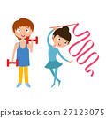 Young boy with dumbbells and flexibility gymnastic 27123075
