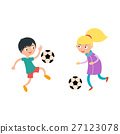 Young child boy and girl playing football vector 27123078
