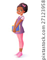 Vector African smiling young school student girl 27123958