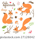 Cartoon cute squirrel. Little funny squirrels 27126042