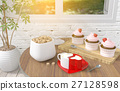 Cappuccino coffee cups with strawberry cupcake 27128598