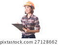 Woman engineer on white background. 27128662