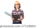 Woman engineer on white background. 27128664