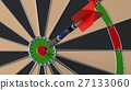 Arrow hitting the bulls eye on a dartboard 27133060