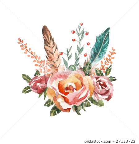 Watercolor Boho Chic Image Flowers Feathers Stock