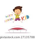 Happy Jumping Kid Vector Illustration 27135788