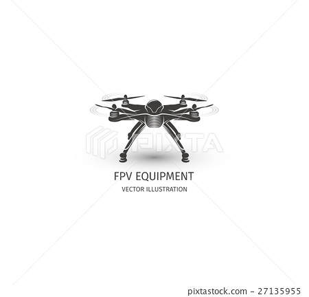 Isolated Rc Drone Logo On White UAV Technology
