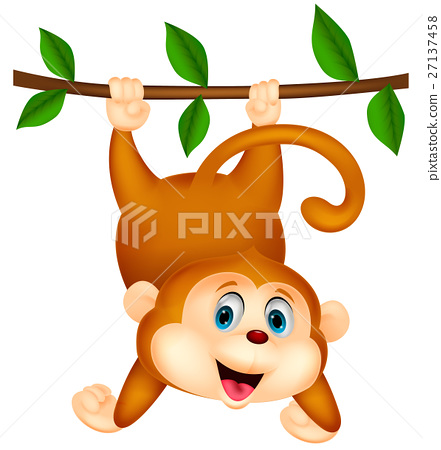 Cute monkey cartoon hanging on a tree branch 27137458