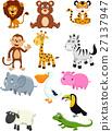 Wild animal cartoon collection set 27137947