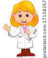 Cute little female doctor waving hand 27138267
