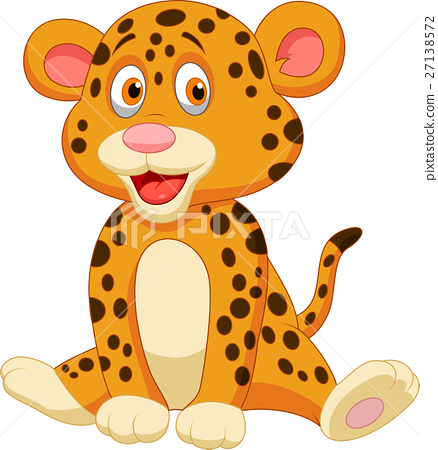 Cute baby leopard cartoon 27138572