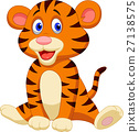 Cute baby tiger cartoon 27138575