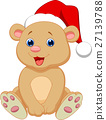 Cute baby bear wearing red hat 27139788
