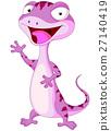 Cute gecko cartoon waving 27140419