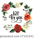 Wildflower rose flower frame in a watercolor style 27142341