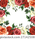 Wildflower rose flower frame in a watercolor style 27142508