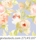 Seamless pattern with flowers watercolor 27145107