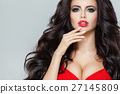 Attractive Model with Dark Curly Hair 27145809