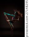 Young beautiful dancer in beige dress dancing on 27148295