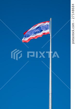 thai flag with blue sky background. 27148684