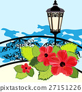 Tropical coastline with lantern, fence and flowers 27151226
