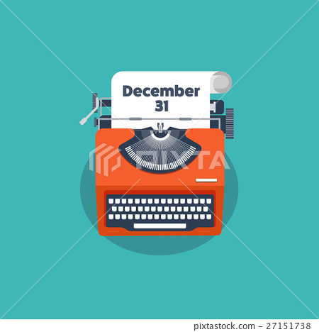 Typewriter in a flat style. Christmas wish list 27151738