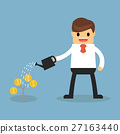 Happy businessman watering money plant. 27163440