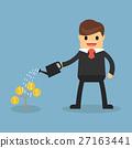 Happy businessman watering money plant. 27163441