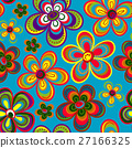 Seamless colorful retro flower background pattern 27166325