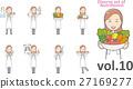 妇女穿着白大衣营养师女子vol.10(设置各种面部表情和姿势) 27169277