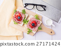 Healthy breakfast with toasted bread on wood plate 27171424