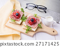 Healthy breakfast with toasted bread on wood plate 27171425